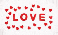 Red title LOVE with hearts, Valentine's Day, texture background Stock Illustration
