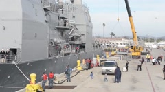USS Mobile Bay Departs San Diego As Part Of The Great Green Fleet Stock Footage