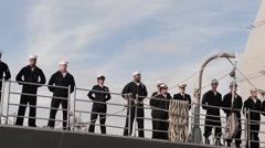 USS Stockdale departs Naval Base Coronado Stock Footage