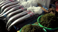 Chilled  beltfish, seaweed, mussels & small crabs at the Jagalchi Market. - stock footage