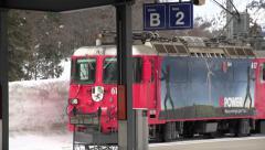 European Train Arriving in Davos, Switzerland W/Sound Stock Footage