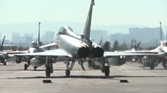 RAF Typhoon on the flight line at the Red Flag exercise 16-1 - stock footage