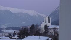 Early Morning Winter Scenic Overlooking Innsbruck Austria Stock Footage