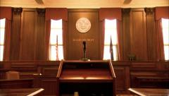 Buffalo, New York Courtroom Zoom To Microphone And In God We Trust HD Video Stock Footage