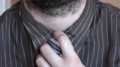 Stock Video Footage of Business man close up loosen tie knot, after work, beard, elegance, shirt, relax