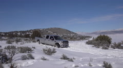 Winter truck stuck mountain road in snow 4K Stock Footage