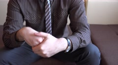 Anxiety, panic, anxious businessman portrait rubbing hands, palms nervous man 4K - stock footage