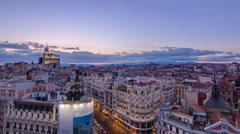 Panoramic aerial view of Gran Via day to night timelapse, Skyline Old Town Arkistovideo
