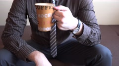 Portrait of businessman home drinking coffee tea from nice cup, morning wake up Stock Footage