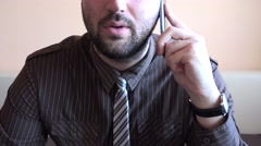 Angry upset anxious business man, phone talk, yelling, disappointment, bad news Stock Footage