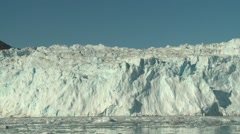 Handheld shot of the 15-metres high glacier wall of Eqia Sermeq Stock Footage