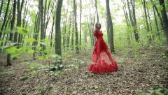 Fairytale Girl Walk In The Forest Stock Footage