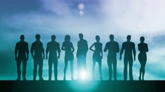 Silhouette of Business People on a Sunset Background as Abstract - stock footage