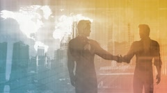 Business Presentation Abstract Background with Partners Shaking Hands Stock Footage