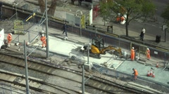 4K Aerial view construction site worker team work tramway railway Manchester day Stock Footage