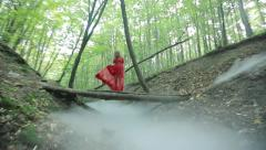 Gorgeous Lady In A Mysterious Foggy Forest Stock Footage