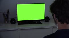 Watching Television Green Screen at Night - stock footage