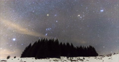 The Milky Way over the winter mountain landscape. 4k timelapse. Stock Footage