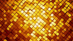 Gold square blocks background animation throwing glares. Seamless loop. Stock Footage