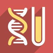 Genetic Analysis Flat Long Shadow Square Icon Stock Illustration