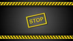 Stop sign and danger tape video animation - stock footage