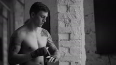 Male Fighter Putting Bandages on Stock Footage