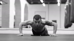 Male Boxer Doing Pushups Stock Footage