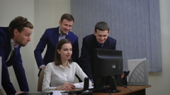 young business people group have meeting and working in office indoor - stock footage