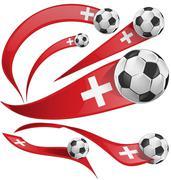 swiss flag set with soccer ball. - stock illustration