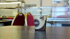 Coffee Cup in the cafe. Fast food. Stock Footage