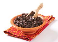 Bowl of dark chocolate chunks Stock Photos