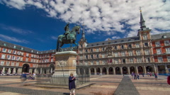 Statue of Philip III timelapse hyperlapse at Mayor plaza in Madrid in a Stock Footage