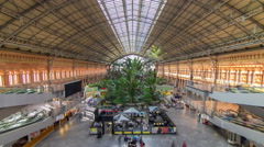 Tropical green house timelapse, location in 19th century Atocha Railway Station Stock Footage