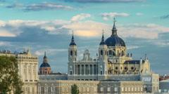 Madrid, Spain skyline timelapse at Santa Maria la Real de La Almudena Cathedral Stock Footage