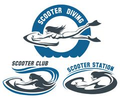Scooter Diving Club emblem set - stock illustration