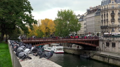 The River Seine in Paris. Beautiful bridge and embankment. France. Stock Footage