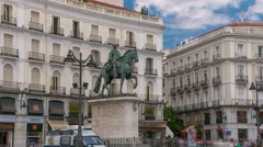 Statue of Charles III one of the famouse King of Spain timelapse hyperlapse on Stock Footage