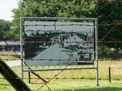 Display of a historic picture at Nazi transit camp Westerbork - stock photo
