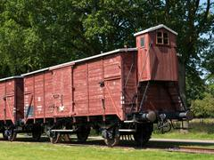 Railway wagon at former Nazi transit camp Westerbork - stock photo