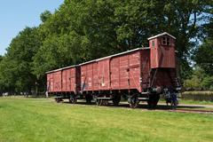 Railway wagon at former Nazi transit camp Westerbork. - stock photo