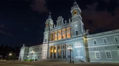Santa Maria la Real de La Almudena in night timelapse hyperlapse - Cathedral in Stock Footage