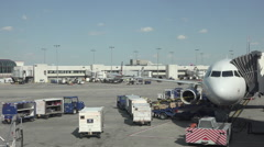 Aircraft empty cargo Dulles International Airport ramp HD Stock Footage