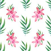 Watercolor seamless pattern of exotic flowers - stock illustration