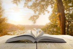 Open book at wooden table on natural blurred background. Heart books page. Back Stock Photos