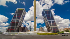 KIO towers or Gateway of Europe timelapse hyperlapse from Plaza de Castilla in Stock Footage