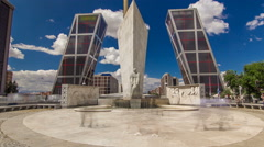 KIO towers or Gateway of Europe timelapse from Plaza de Castilla in Madrid Stock Footage