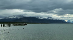 Wide-angle view of the lake from Puerto Natales, Chile - stock footage