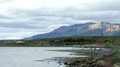 Wide-angle view of the lake and mountains at Puerto Natales, Chile Stock Footage