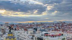 Panoramic aerial view of Gran Via timelapse before sunset, Skyline Old Town Stock Footage
