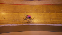 4K Overhead view of competitive cyclists racing on track in velodrome - stock footage